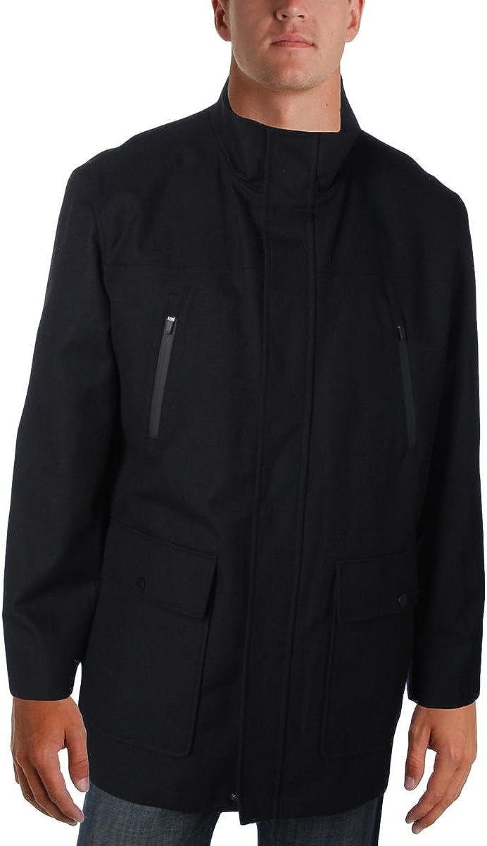 Wofupowga Mens Fleece Lined Stand Collar Thick Woolen Winter Parka Coat Jacket