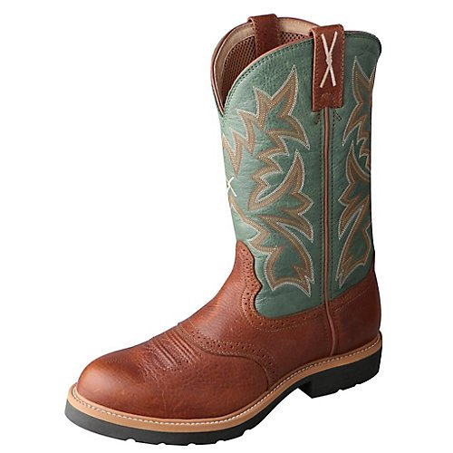 Twisted X Boots Men's MSC0005,Cognac Glazed Pebble/Dark Green Leather,US 8 2E by Twisted X