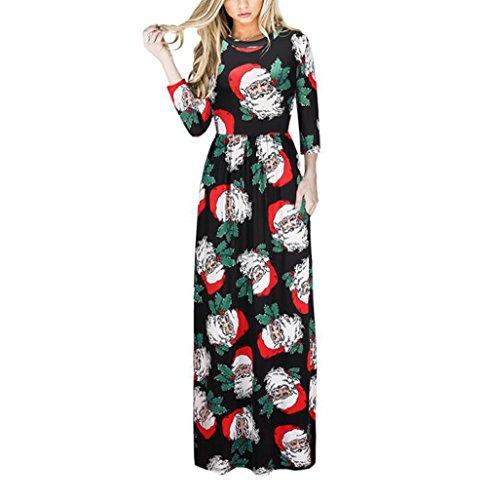 YYF Damen Kleid Weihnachten 3/4 Arm Bedrucken Kleidung Party ...
