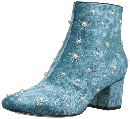 The Fix Women's Darcey Starburst Block Heel Ankle Boot with Pearls, sea Green Crushed Velvet, 7 B -