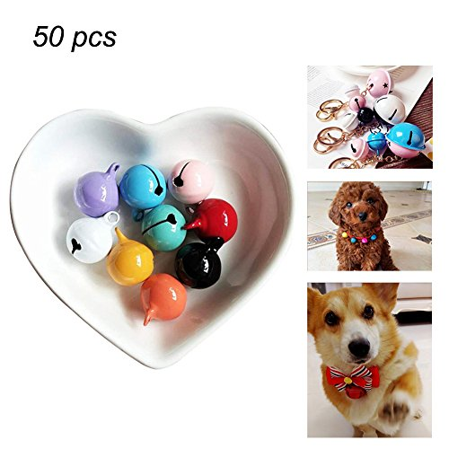 Multicolor Jingle Bells Small Bell Mini Bells for DIY Crafts Pet Necklace Keychain Festival Decor - Random Color (A-14mm, 50pcs)