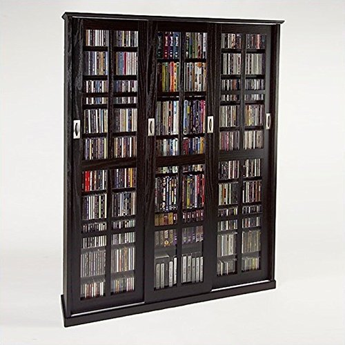 Leslie Dame MS-1050ES Mission Style Multimedia Storage Cabinet with Sliding Glass Doors, Espresso (Black Media Cabinet With Glass Doors)