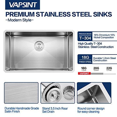 Vapsint Commercial 30 Inch 18 Gauge 10 Inch Deep Handmade