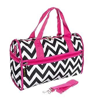 J Garden Black Pink Chevron Duffel Bag 19-inch