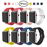 BMBEAR Compatible Apple Watch Band 42mm 38mm Soft Silicone Replacement iWatch Strap for Apple Watch Series 3 Series 2 Series 1