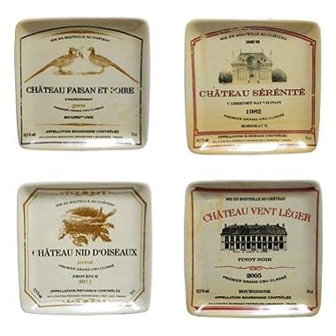 Creative Co-op 5-inch Square Vintage Wine Labels Appetizer Plates, Set of 4