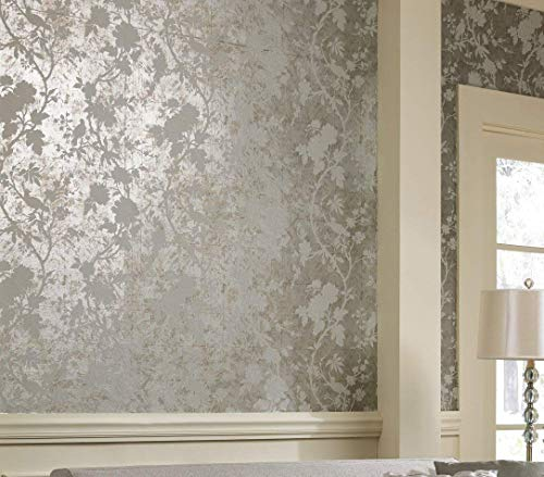 York Wallcoverings Metallics Arlington Removable Wallpaper, Silver Metallic/Off White ()