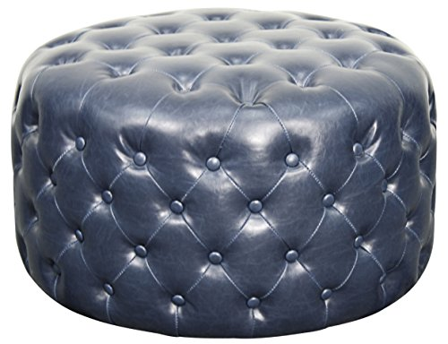 (New Pacific Direct Lulu Round Bonded Leather Tufted Ottoman,Vintage Blue,Fully Assembled)