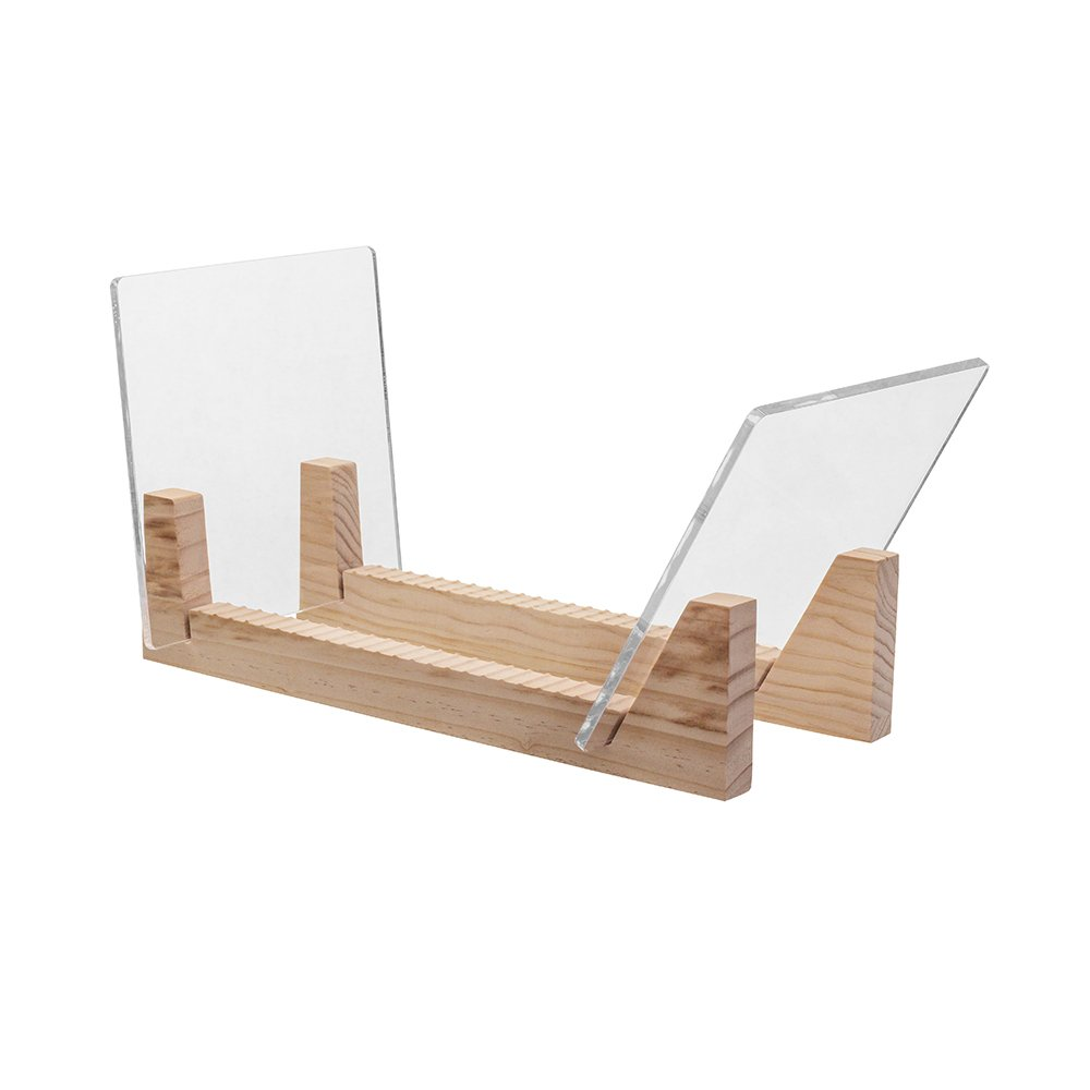 KAIU Vinyl Record Storage - Solid Wood with Crystal Clear Acrylic Holder - Premium Design, Perfect 12 LPs or 7 Singles Display Unit - Stores and Supports up to 50 Albums (Natural) FBA_KVRS-01-16
