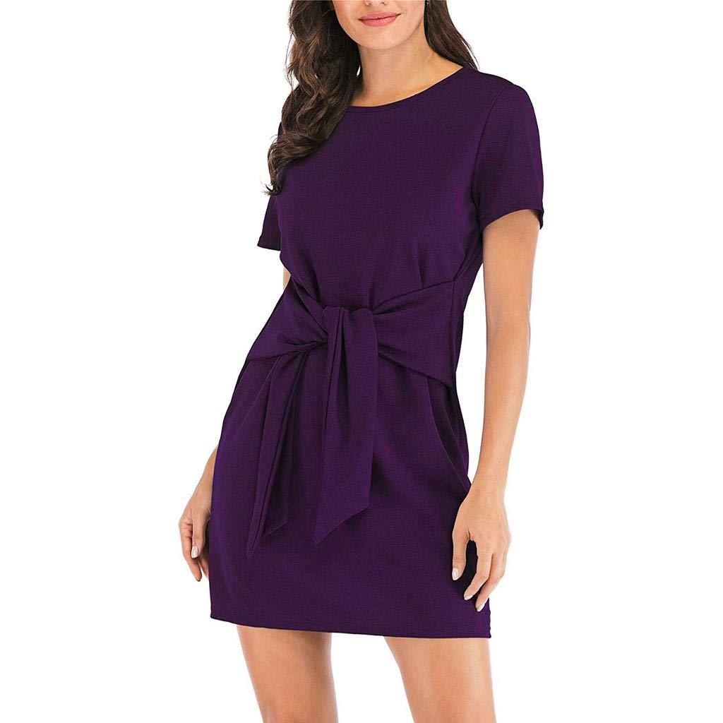 Womens Casual Short Sleeve Dress Solid Round Neck Front Pencil Dress Beach Mini Dress Purple