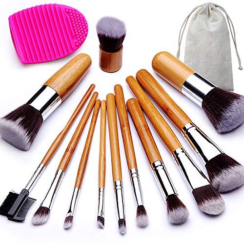(BEAKEY Makeup Brush Set, Bamboo Handle Premium Synthetic Kabuki Foundation Blending Blush Eyeshadow Concealer Powder Brush Kit, with 1 Brush Egg & 1 Cloth Bag (12+2)