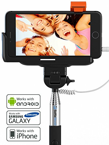 premium 5 in 1 wired selfie stick for iphone 5 6 samsung galaxy takes sel. Black Bedroom Furniture Sets. Home Design Ideas