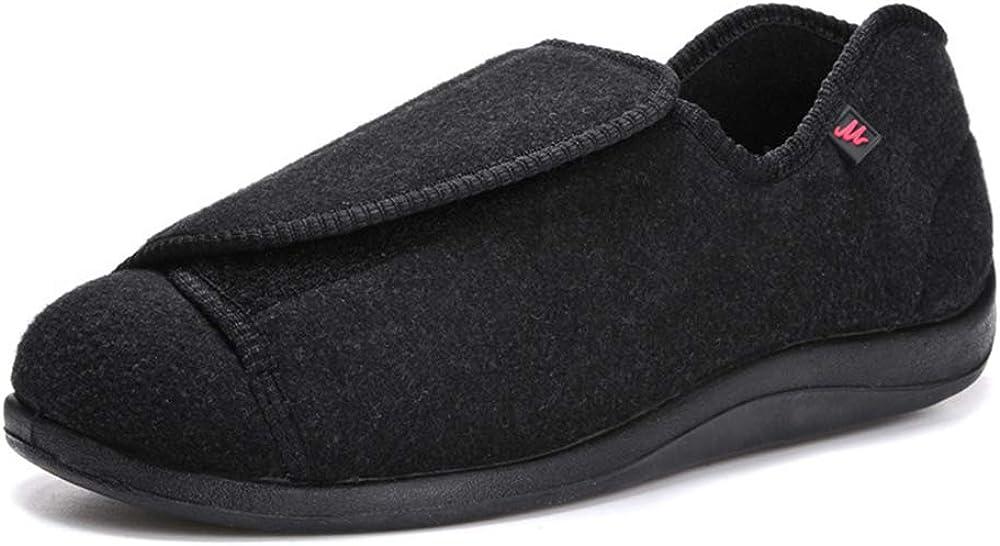 Zapatos Diabéticos para Hombre, Extra Anchas Zapatillas Antideslizantes Artritis y Edema para Ancianos con Cierre de Velcro Ajustable para Interior y Exterior, para Interior y Exterior