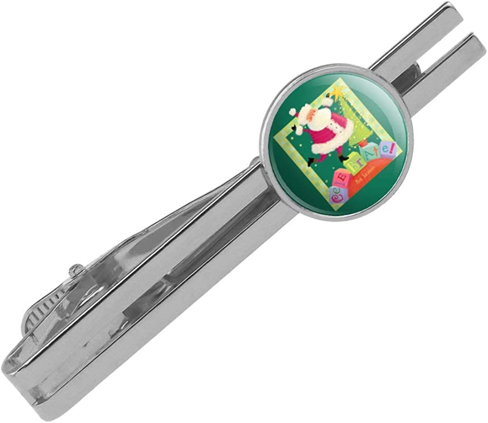 GRAPHICS /& MORE Christmas Holiday Celebrate The Season Santa Blocks Round Tie Bar Clip Clasp Tack Silver Color Plated