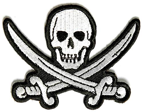 White Pirate Sword Skull Patch - 3x2.25 inch. Embroidered Iron on Patch