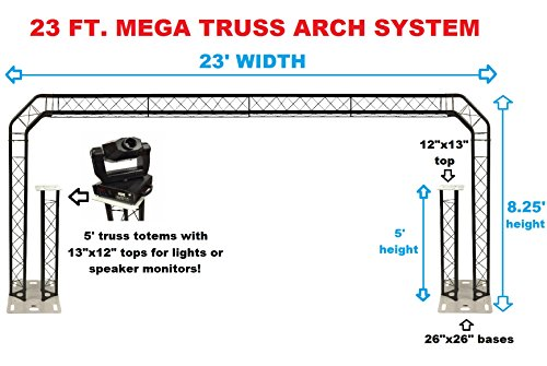 BLACK TRUSS ARCH KIT 23FT Width Mobile Portable DJ Lighting System Metal Bolts 5' Upright Truss Totem Mounted On Each Truss Base!