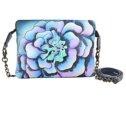 Shoulder Holder Clutch Hand Handbag Free Anna by Purse Denim Leather Marigold Anuschka Design Painted Real on EwfqA7fOx