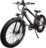 NAKTO Electric Bicycle Fat Tire Mountain EBike Shimano 6 Speeds Gear, Removable 500W48V12A Lithium Battery,Smart Multi Function LED Display - with 48V12A Lithium Battery