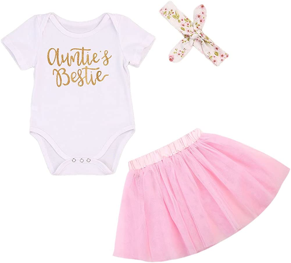 Baby Girls 3PCS Infant Outfit Clothes Romper Bodysuit Tulle Shorts with Headband Set