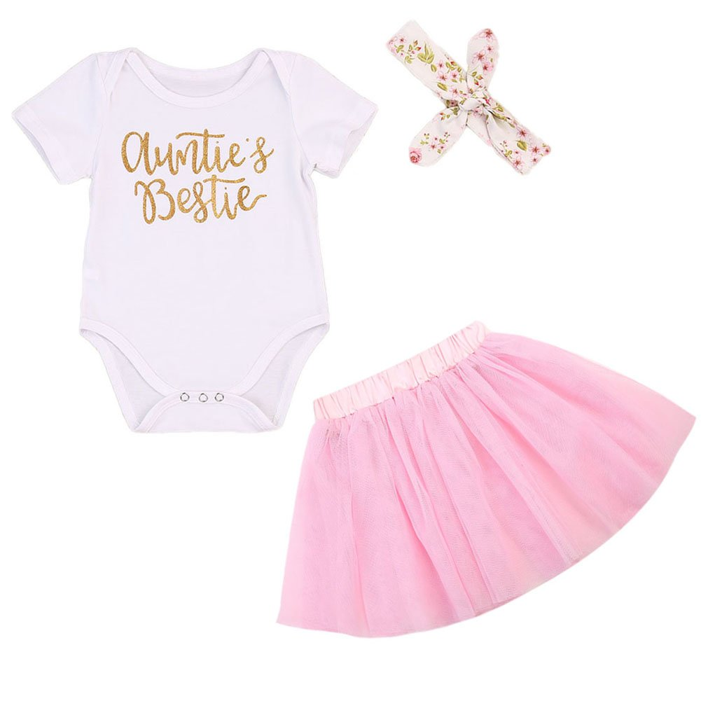 3Pcs/Set Newborn Baby Girl Summer Outfit Auntie Bodysuit Romper with Headband+Pink Tutu Skirt Clothes