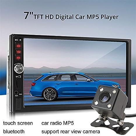 Eaglerich Car Audio Pantalla táctil Reversión Prioridad 7 pulgadas HD 2 Din Universal Car MP5 MP4 USB TF Aux IN Bluetooth FM Radio Vista trasera Camara: ...