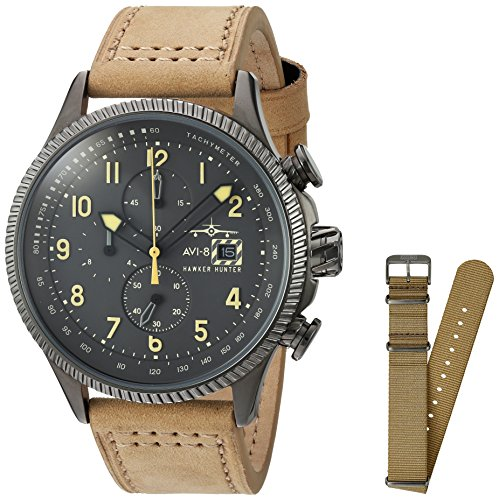 AVI-8 Men's 'Hawker Hunter' Quartz Stainless Steel and Leather Aviator Watch, Color:Beige (Model: AV-4036-06)