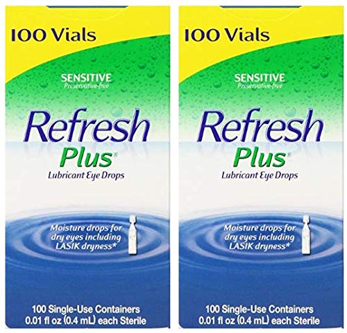 Refresh Plus Lubricant Eye Drops Long Lasting Relief Plus Protection for Mild to Moderate Dry Eye - 100 Single Use Vials (2 Pack (200 Ct. Total))
