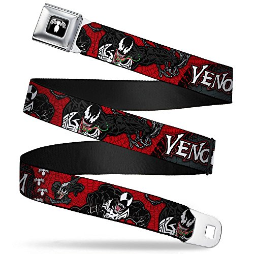 "Buckle-Down Seatbelt Belt - VENOM Poses/Spiders Red/Gray/Black/White - 1.5"" Wide - 32-52 Inches in Length"