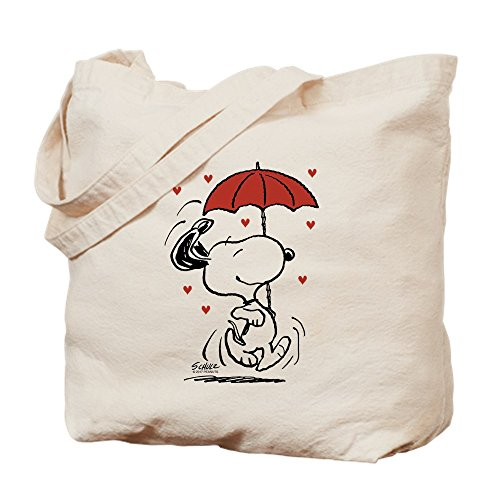 CafePress Snoopy On Heart Natural Canvas Tote Bag, Cloth Shopping Bag ()
