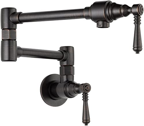 Brizo 62810LF-RB Double Handle Wall Mount Pot Filler with Metal Lever Handles, Venetian Bronze