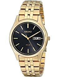 Seiko Mens SNE044 Gold-Tone Stainless Steel Solar Watch