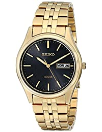 Seiko Men's SNE044 Gold Tone Solar Black Dial Watch