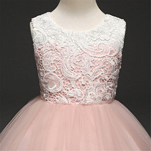 KISSOURBABY 3-14 Years Girls Lace Bridesmaid Wedding Party Dress with Embroidery