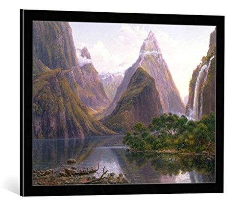 - kunst für alle Framed Art Print: Eugene von Guerard Native Figures Canoe Milford Sound West Coast South... - Decorative Fine Art Poster, Picture with Frame, 29.5x21.7 inch / 75x55 cm, Black/Edge Grey