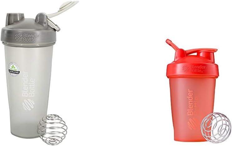 BlenderBottle Classic Loop Top Shaker Bottle, 28-Ounce, Pebble Grey & Classic Loop Top Shaker Bottle, 20-Ounce, Coral/Coral