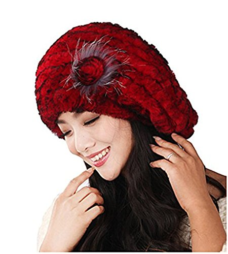 Yr Lover Winter Women's Rex Rabbit Fur Beret Hats Caps With Fur Flower (Rabbit Hat Rex)