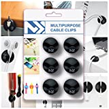 Cable Clips Black - Cord Keepers - Wire Holder for Desk - Charger Cord Holder - Multipurpose Organizer Clips - Clips To Hold Cables - Cable Reel System - 6 Pack - Cord Holder for Car