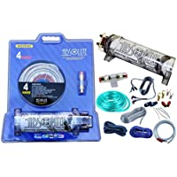 Absolute USA KITCAP4GASI 3.0 Farad Power Capacitor 4 Gauge Car Amplifier Installation Wiring Complete Kit (Silver)