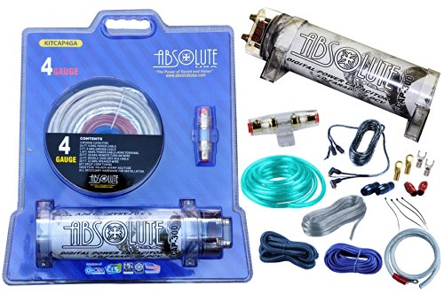 Amplifier Installation Silver Kit (Absolute USA KITCAP4GASI 3.0 Farad Power Capacitor 4 Gauge Car Amplifier Installation Wiring Complete Kit (Silver))
