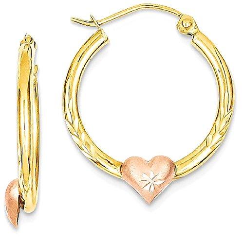 ICE CARATS 14k Yellow Rose Gold Heart Hoop Earrings Ear Hoops Set Love Fine Jewelry Gift Set For Women Heart by ICE CARATS (Image #1)