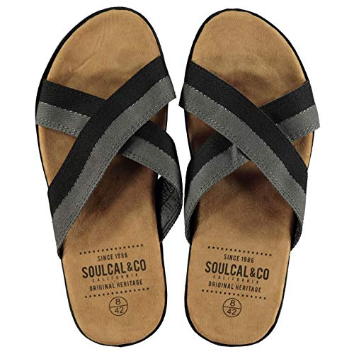 SoulCal Mens Covina Flip Flops Crossed Straps Summer Beach Black 9.5 US ()