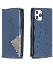 """Hoesje voor iPhone 12 / iPhone 12 Pro 6.1"""" Wallet Book Case, Magneet Flip Wallet met Kaarthouders slots Robuuste schokbestendige Bookcase voor iPhone 12 - JEBF090058 blauw"""