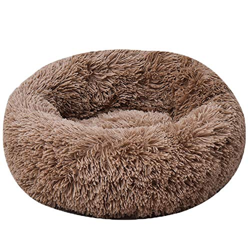 HARESLE Brown Round Pet bed, Calming Bed Plush Nest Warm Soft Cushion Donut Cuddler Cat Dog Puppy Comfortable for…