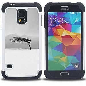- black white tree wind clean/ H??brido 3in1 Deluxe Impreso duro Soft Alto Impacto caja de la armadura Defender - SHIMIN CAO - For Samsung Galaxy S5 I9600 G9009 G9008V