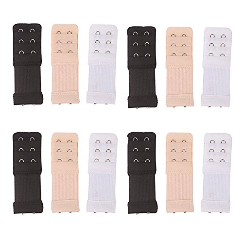Mydio 12 Pack 3 Rows 2 Hooks Elastic Bra Extension Strap For Women Ladies,3 Colors