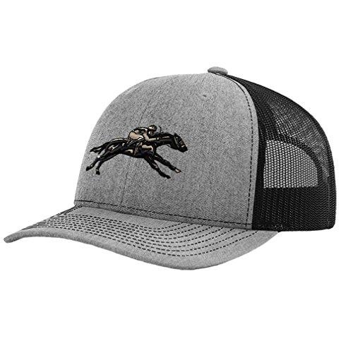 - jokey Horse Race Embroidery Design Richardson Structured Front Mesh Back Cap Heather Gray/Black