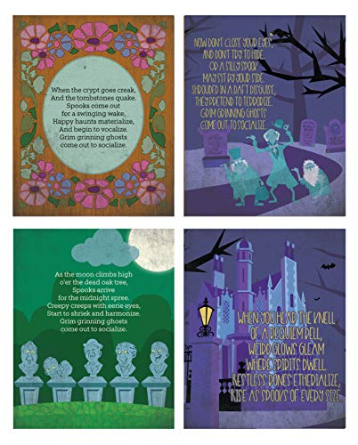 Silly Goose Gifts Haunted Mansion Themed Halloween Wall Art Prints (Set of Four) 8x10in Decoration -