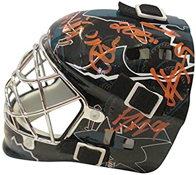 2011-2012 San Jose Sharks Team Autographed Hand Signed Logo Franklin Mini Hockey Goalie Mask with 9 Signatures Total, Proof Photos & COA, Patrick Marleau, Logan Couture, Martin Havlet and more