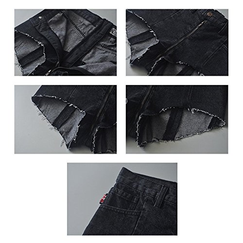 Xinvision Vita A Blu Hotpant Alta Pantaloni Strappati Pantaloncini Denim Ziper Indietro Da Estate Sexy Donna Pizzo Jeans Nero qE5rqcP