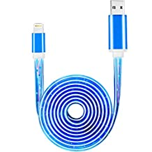 iPhone Charger, VANTEN LED Light Charger Cable USB Cable Lighting Cable Charging Cord Charger [3ft] for iPhone 7/7 Plus/6s/6s Plus/6/6 Plus/5s/5c/5/iPad/iPod(iOS,1 Pack)